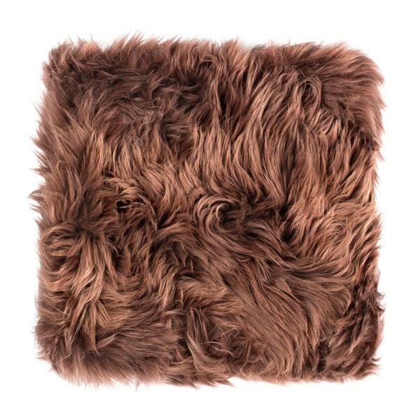 Tmavohnedý sedák z ovčej kožušiny na jedálenskú stoličku Royal Dream, 40×40 cm