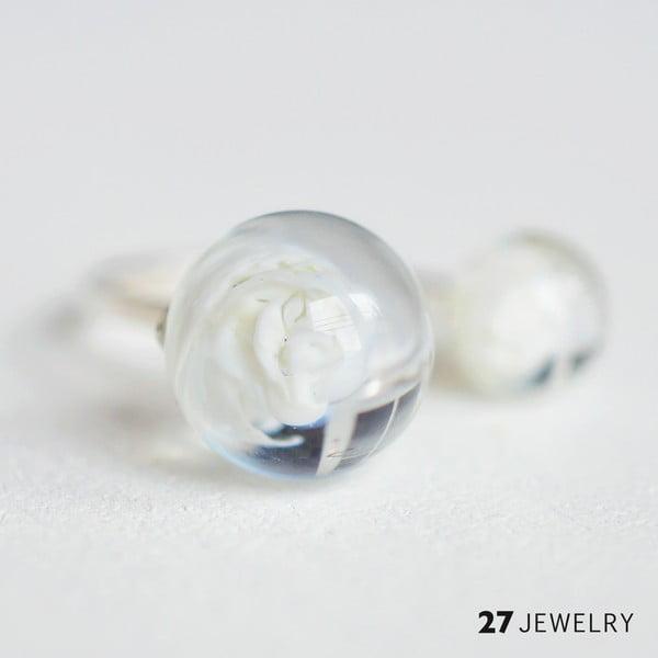 Bílý dvojitý prsten ze skla Enamor