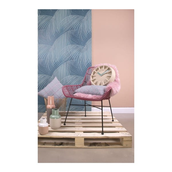 Polštář Present Time Padded Grid Jeans Grey, 50x30 cm