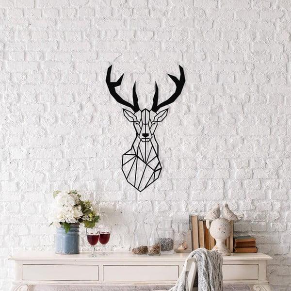 Černá kovová nástěnná dekorace Deer, 37 x 59 cm