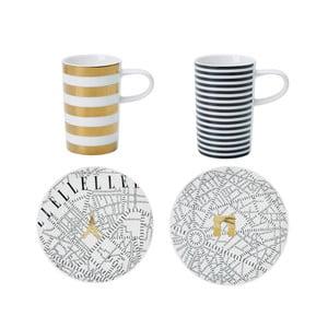 Set 2 hrnečků a 2 talířků na espresso Elle Plan De Paris Stripes