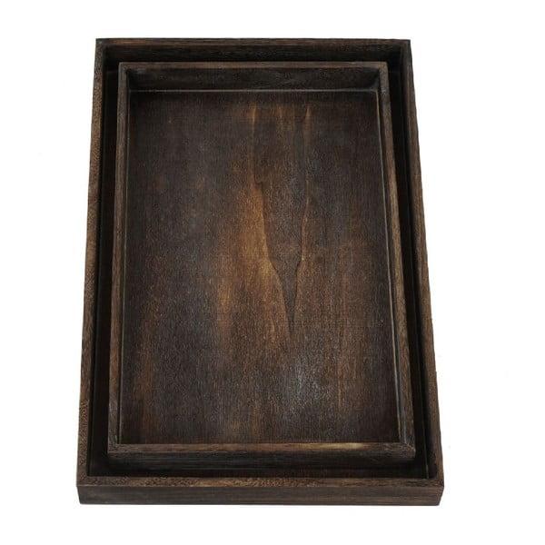Sada 2 hnědých dřevěných táců Mendler Shabby
