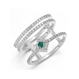 Prsten s bílými a zelenými krystaly Swarovski Elements Crystals Lia, ø13mm
