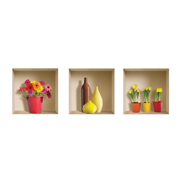 3D samolepky na zeď Flower Pot