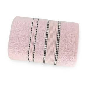 Pudrově růžová osuška ze 100% bavlny Marie Lou Remix, 150 x 90 cm