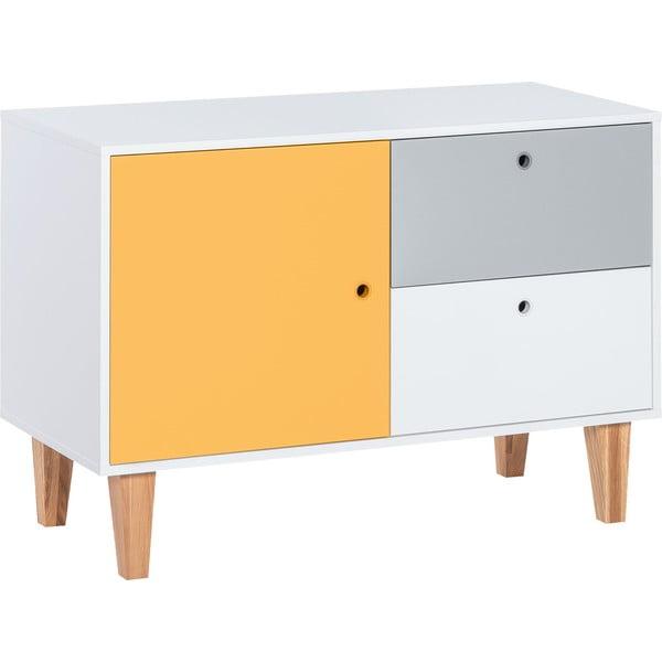Komoda so žltými dvierkami z dubového dreva Vox Concept