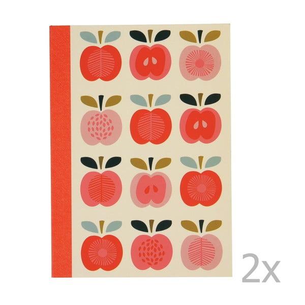 Set 2 caiete exerciții tip dictando cu imprimeu cu mere Rex London Vintage Apple