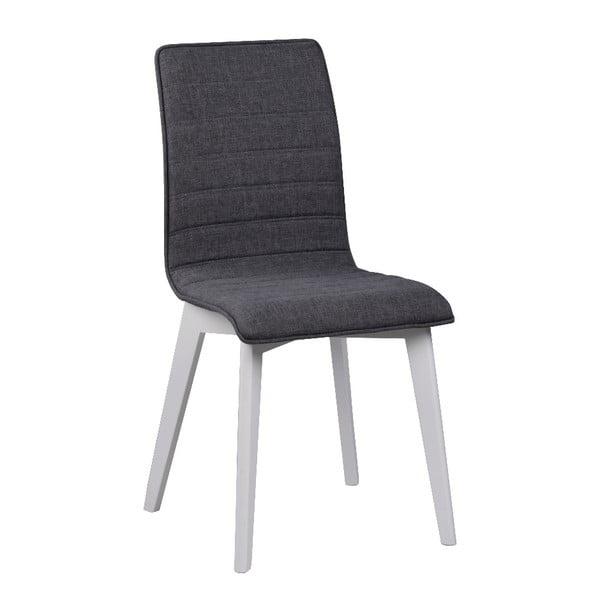 Tmavě šedá jídelní židle s bílými nohami Rowico Grace