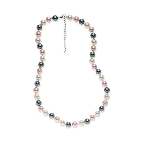 Šedorůžový perlový náhrdelník Pearls Of London Mystic, délka 42 cm