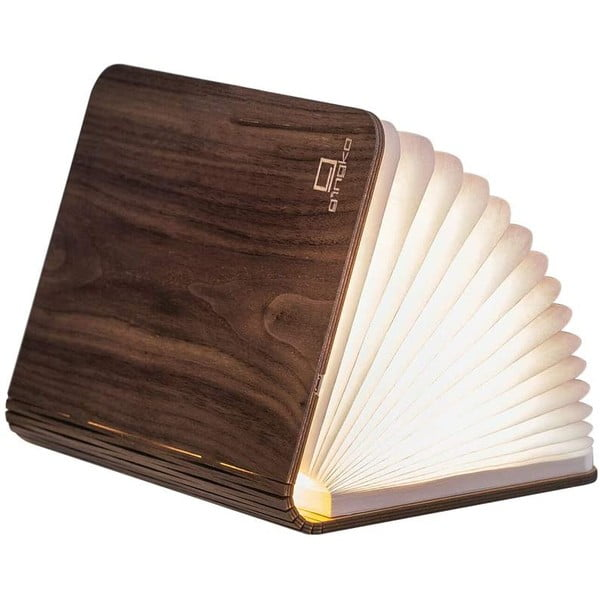 Ciemnobrązowa lampa stołowa LED z drewna orzechowego w kształcie książki Gingko Booklight