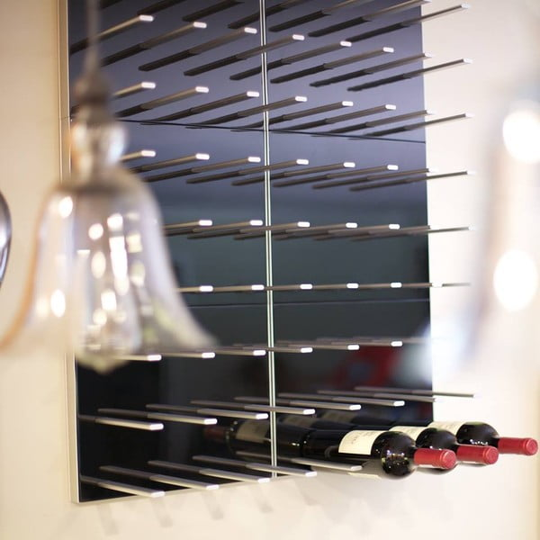 Nástěnný stojan na víno STACT, šedý dub