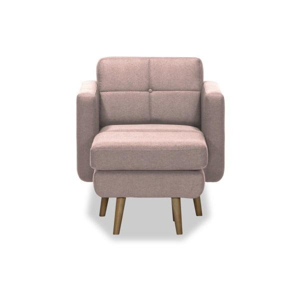 Magnus világos rózsaszín fotel puffal - Vivonita