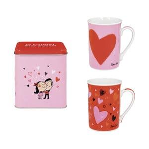Sada 2 hrnků Amoureux, pink/red