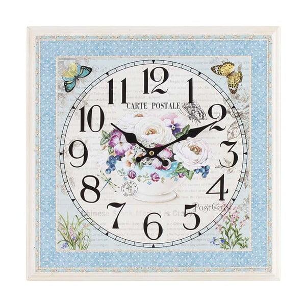 Dřevěné hodiny Flowers, 42x42 cm