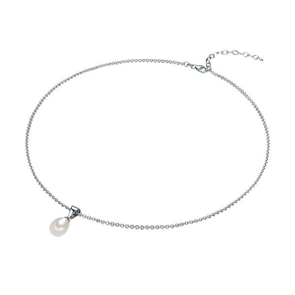 Stříbrný náhrdelník s bílou perlou Chakra Pearls, 42 cm