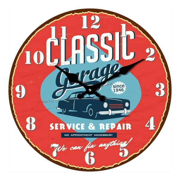 Skleněné hodiny V garáži, 34 cm