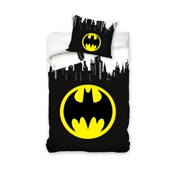 Lenjerie de pat din bumbac pentru copii CARBOTEX Batman Logo, 160 x 200 cm