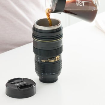 Pahar termos de voiaj InnovaGoods CamCup, 400 ml, negru imagine