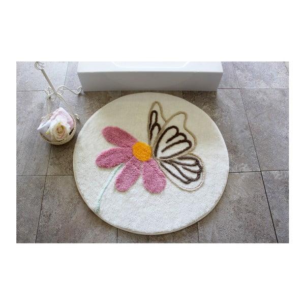 Alessia fürdőszobai szőnyeg virágos motívummal, ⌀ 90 cm