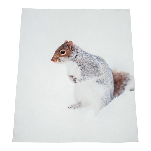 Bílá deka J-Line Squirrel, 130x160 cm