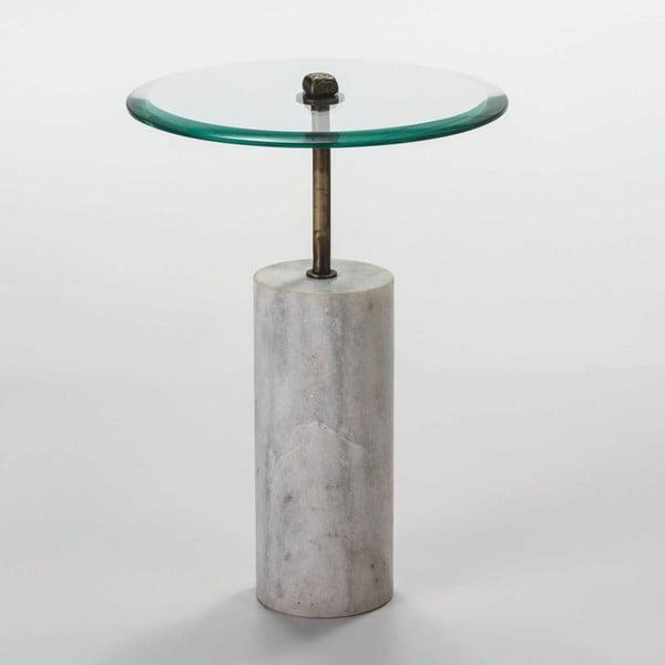 Odkládací stolek ze skla a mramoru Thai Natura Johny, Ø 39 cm