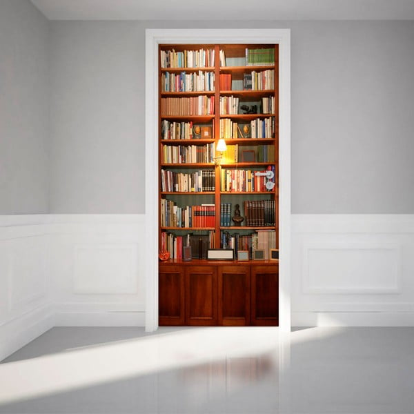 Adhezivní samolepka na dveře Ambiance Bookshelf, 83 x 204 cm