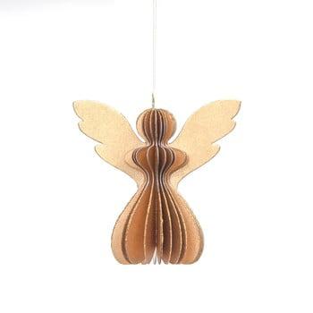 Decorațiune din hârtie pentru Crăciun, formă înger Only Natural, 12,5 x 7,5 cm, auriu imagine