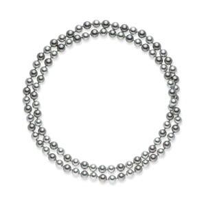 Stříbrnošedý perlový náhrdelník Pearls Of London Mystic, délka 90 cm