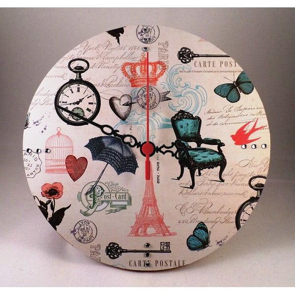 Nástěnné hodiny Carte Postale, 30 cm