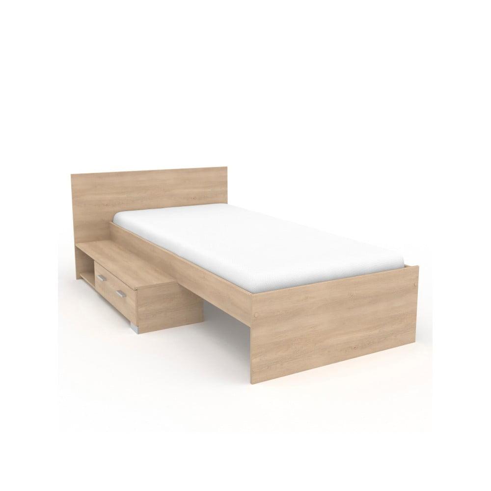 Jednolůžková postel v dekoru dubového dřeva Parisot Alix, 90x200cm