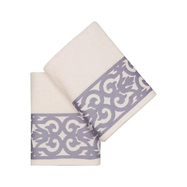 Sada 2 bílých ručníků na ruce s fialovým lemováním Grace