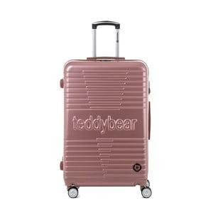 Světle růžový cestovní kufr na kolečkách Teddy Bear Paige, 107 l
