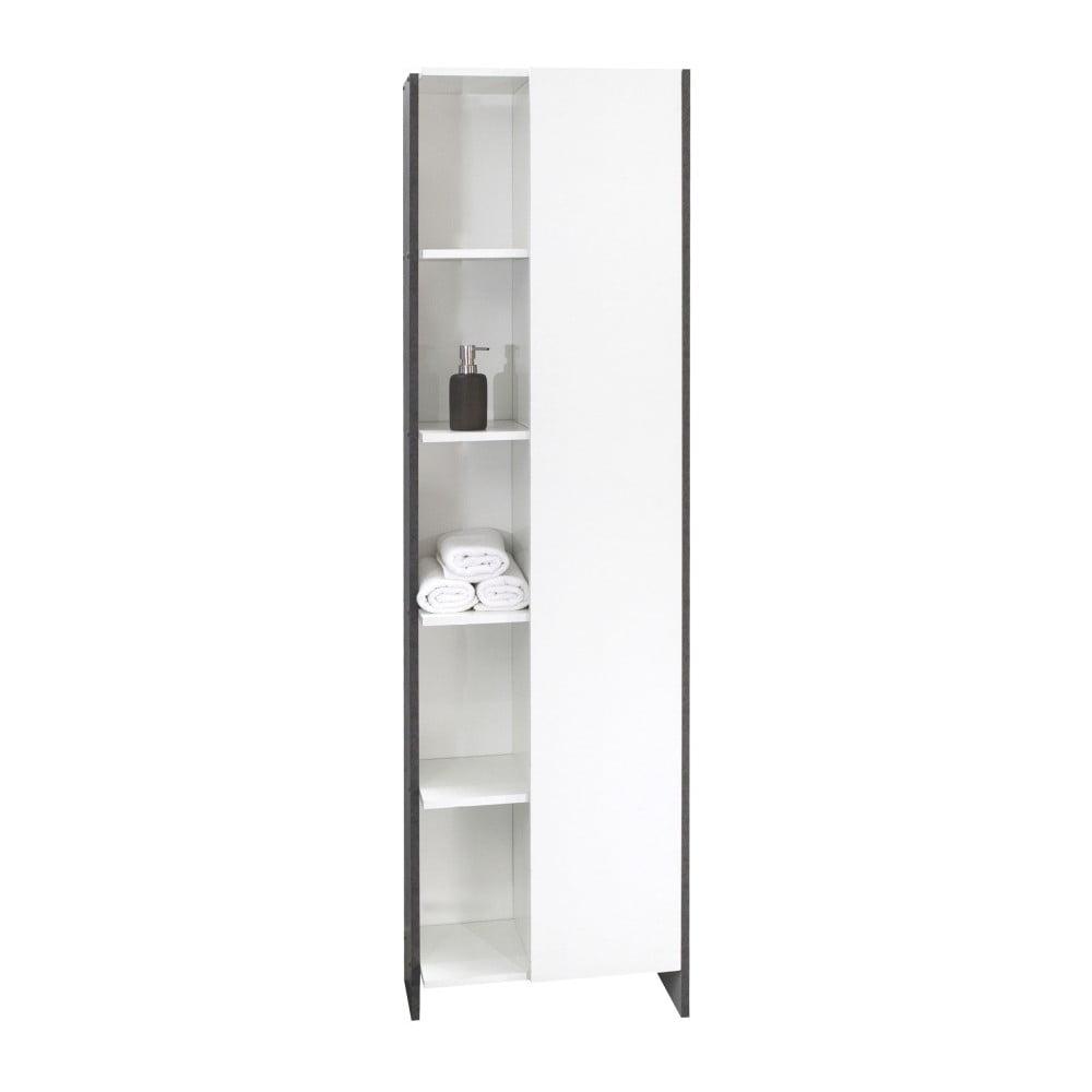 Bílá koupelnová skříňka s šedým korpusem Symbiosis Auben, výška180cm