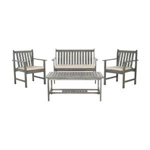 Šedý set dřevěného zahradního stolu a židlí z akátového dřeva Safavieh Mystique