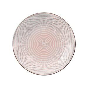 Porcelánový kulatý talíř Pink Stripe, 28 cm