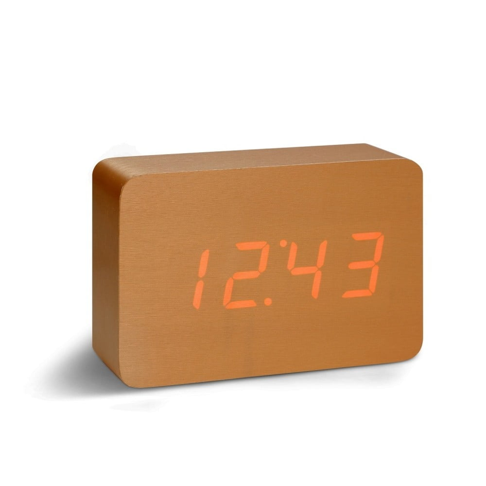 Oranžový budík s červeným LED displejem Gingko Brick Click Clock