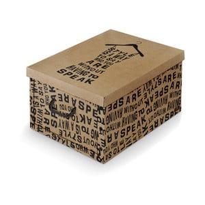 Hnědý úložný box s černými detaily Domopak Kraft, délka50cm