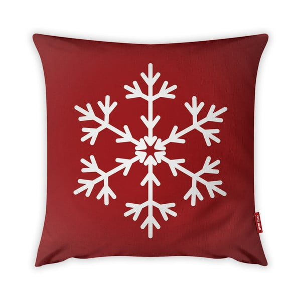 Față de pernă Vitaus Christmas Period Red Simple Snowflake, 43 x 43 cm