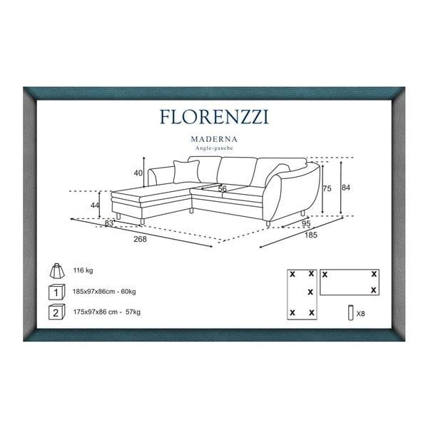 Hnědá pohovka Florenzzi Maderna s lenoškou na levé straně