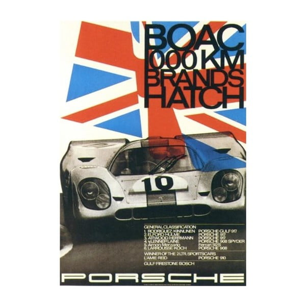 Plakát Porsche Brands Hatch 1970, 70x50 cm