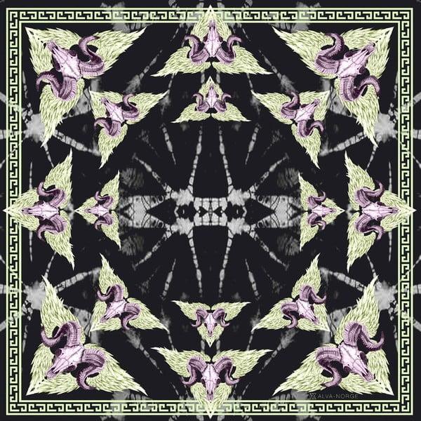 Vlněný šátek s kašmírem Rama Black, 130x130 cm