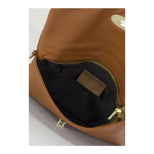 Koňakově hnědá kožená kabelka Giulia Massari Medea