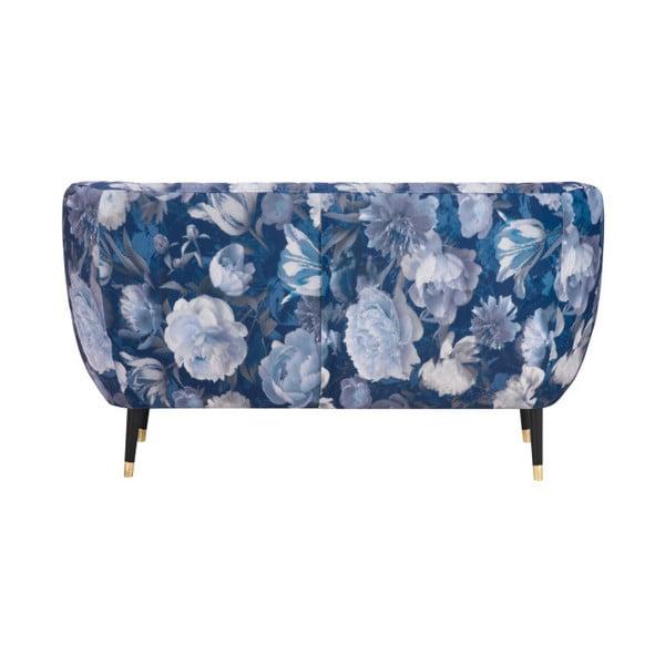 Modrá dvojmístná pohovka Mazzini Sofas Benito Floral