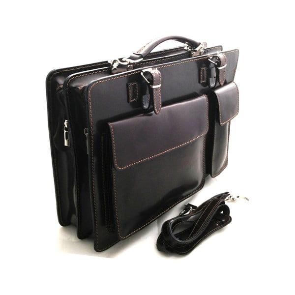 Kožená kabelka/kufřík Cortese, tmavě hnědá