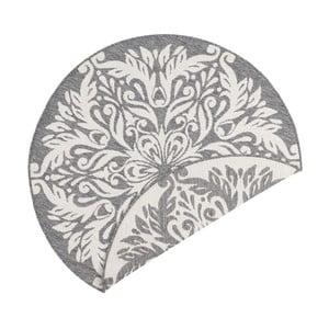 Šedo-krémový oboustranný koberec vhodný i na ven Bougari Madrid, ⌀ 140 cm