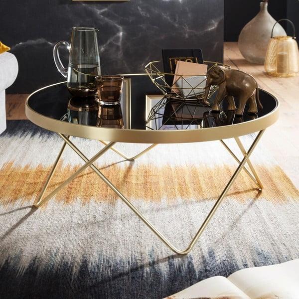 Černý konferenční stůl s nohami ve zlaté barvě Skyport Dana, ⌀ 82 cm
