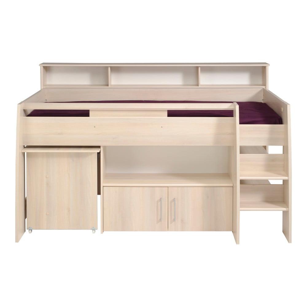 Multifunkční jednolůžková postel v dekoru akáciového dřeva Parisot Adelise, 90x200cm