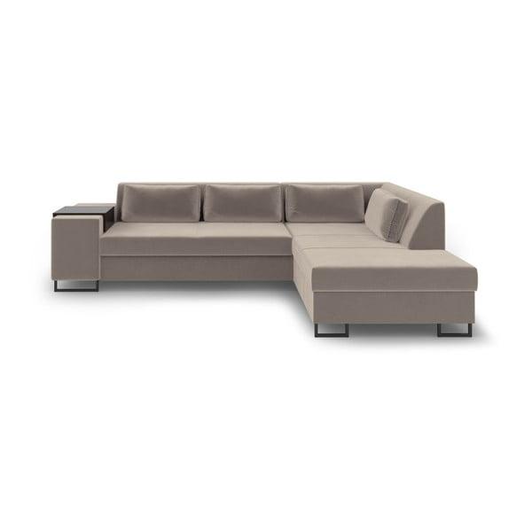 Beżowa rozkładana sofa prawostronna Cosmopolitan Design San Diego