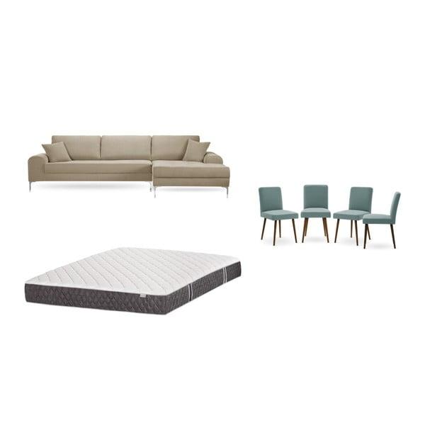 Set canapea taupe cu șezlong pe partea dreaptă, 4 scaune gri-verde și saltea 160 x 200 cm Home Essentials