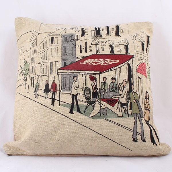 Povlak na polštář Beige Cafe in Paris, 45x45 cm
